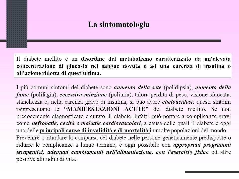 La sintomatologia disordine del metabolismocaratterizzato da un elevata concentrazione di glucosio nel sangue dovuta o ad una carenza di insulina o all azione ridotta di quest ultima.