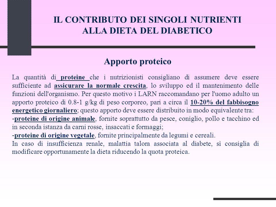 IL CONTRIBUTO DEI SINGOLI NUTRIENTI ALLA DIETA DEL DIABETICO Apporto proteico La quantità di proteine che i nutrizionisti consigliano di assumere deve