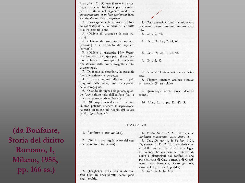 (da Bonfante, Storia del diritto Romano, I, Milano, 1958, pp. 166 ss.)