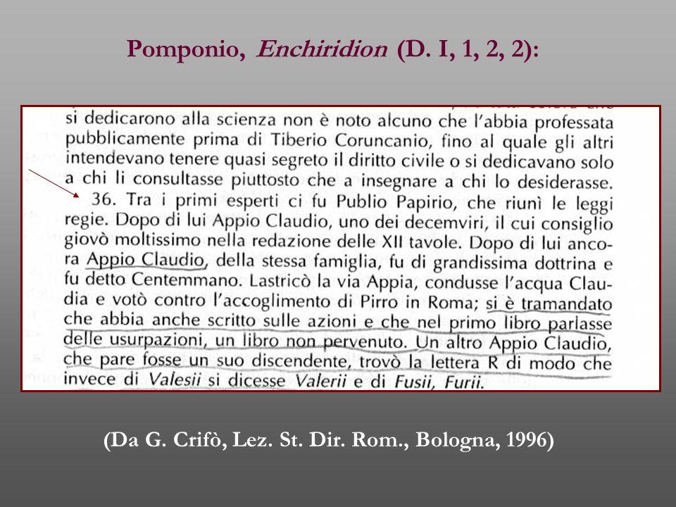 Pomponio, Enchiridion (D. I, 1, 2, 2): (Da G. Crifò, Lez. St. Dir. Rom., Bologna, 1996)