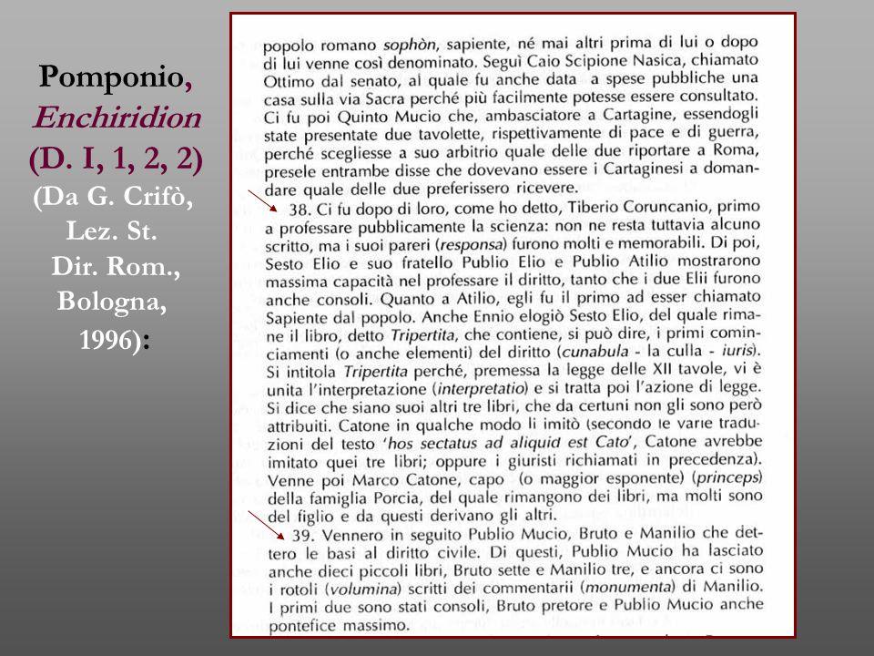 Pomponio, Enchiridion (D. I, 1, 2, 2) (Da G. Crifò, Lez. St. Dir. Rom., Bologna, 1996) :