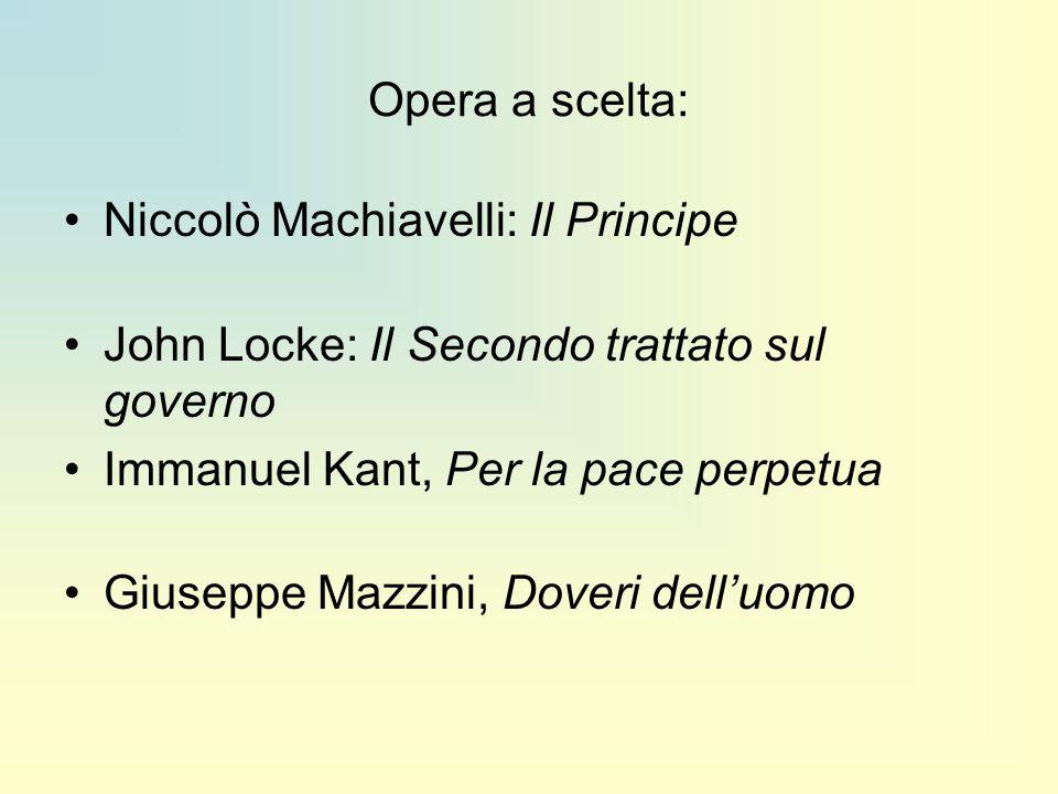 Opera a scelta: Niccolò Machiavelli: Il Principe John Locke: Il Secondo trattato sul governo Immanuel Kant, Per la pace perpetua Giuseppe Mazzini, Dov