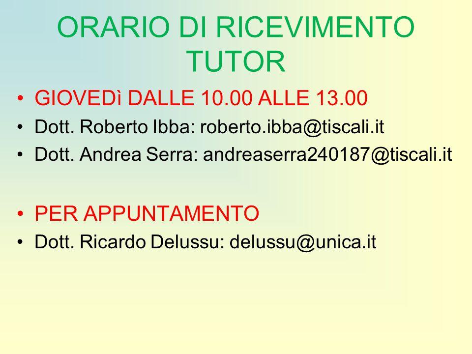 ORARIO DI RICEVIMENTO TUTOR GIOVEDì DALLE 10.00 ALLE 13.00 Dott. Roberto Ibba: roberto.ibba@tiscali.it Dott. Andrea Serra: andreaserra240187@tiscali.i