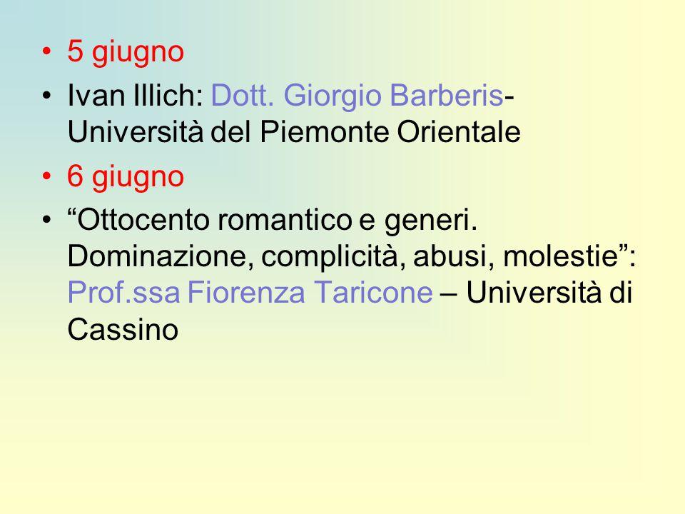 """5 giugno Ivan Illich: Dott. Giorgio Barberis- Università del Piemonte Orientale 6 giugno """"Ottocento romantico e generi. Dominazione, complicità, abusi"""