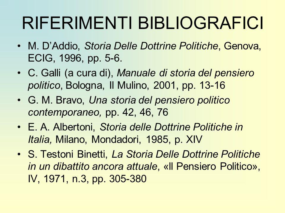 RIFERIMENTI BIBLIOGRAFICI M. D'Addio, Storia Delle Dottrine Politiche, Genova, ECIG, 1996, pp. 5-6. C. Galli (a cura di), Manuale di storia del pensie