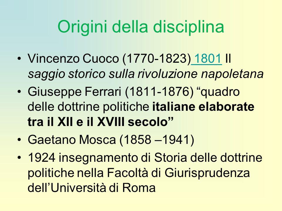 """Origini della disciplina Vincenzo Cuoco (1770-1823) 1801 Il saggio storico sulla rivoluzione napoletana 1801 Giuseppe Ferrari (1811-1876) """"quadro dell"""