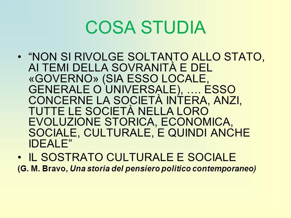 """COSA STUDIA """"NON SI RIVOLGE SOLTANTO ALLO STATO, AI TEMI DELLA SOVRANITÀ E DEL «GOVERNO» (SIA ESSO LOCALE, GENERALE O UNIVERSALE), …. ESSO CONCERNE LA"""