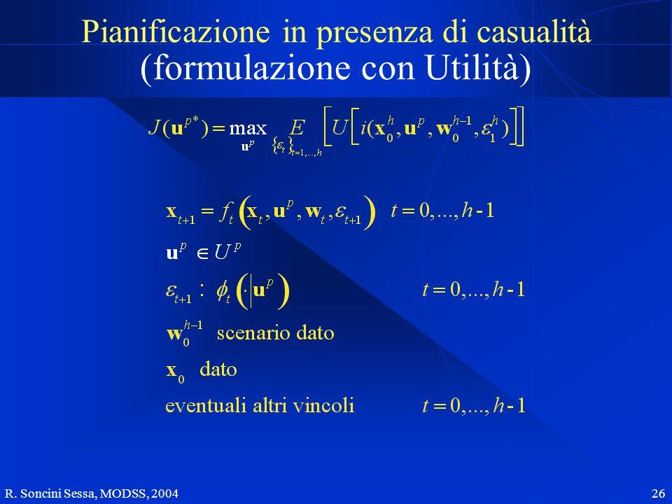 R. Soncini Sessa, MODSS, 2004 26 Pianificazione in presenza di casualità (formulazione con Utilità)