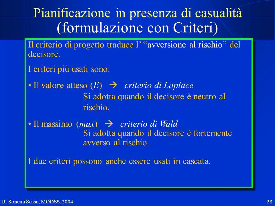 """R. Soncini Sessa, MODSS, 2004 28 Pianificazione in presenza di casualità (formulazione con Criteri) Il criterio di progetto traduce l' """"avversione al"""