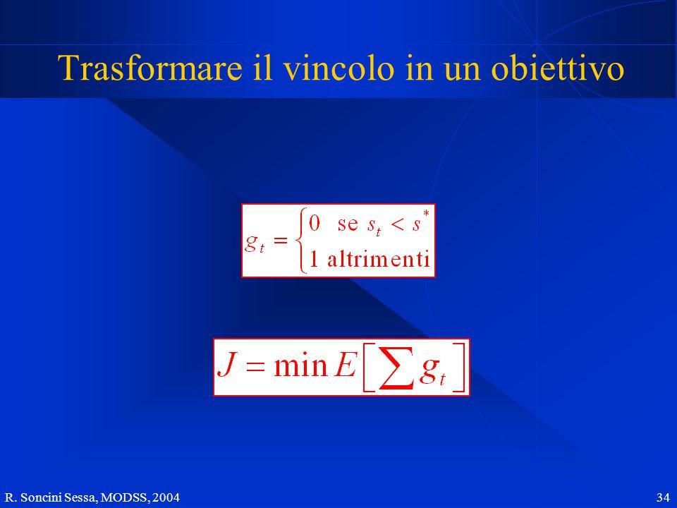 R. Soncini Sessa, MODSS, 2004 34 Trasformare il vincolo in un obiettivo