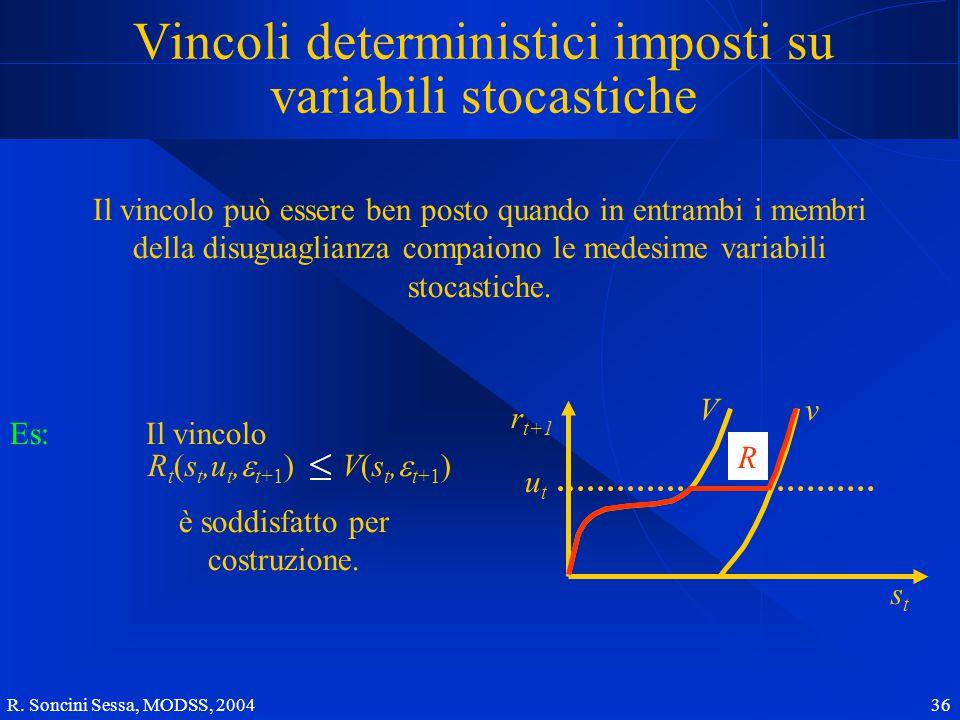 R. Soncini Sessa, MODSS, 2004 36 Vincoli deterministici imposti su variabili stocastiche Il vincolo può essere ben posto quando in entrambi i membri d