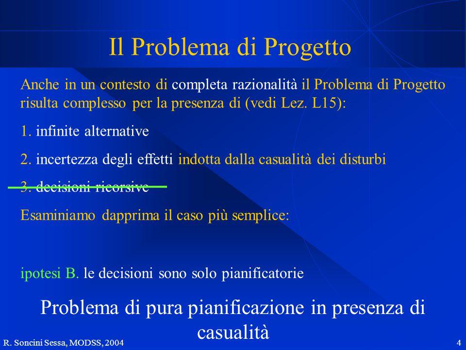 R. Soncini Sessa, MODSS, 2004 4 Il Problema di Progetto Anche in un contesto di completa razionalità il Problema di Progetto risulta complesso per la