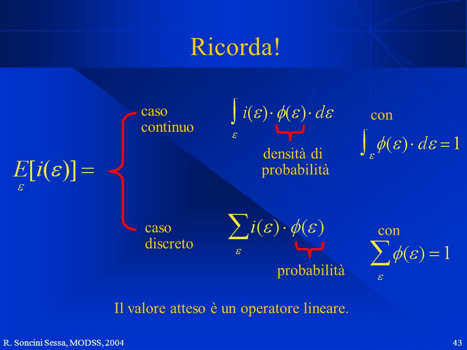 R. Soncini Sessa, MODSS, 2004 43 Ricorda.