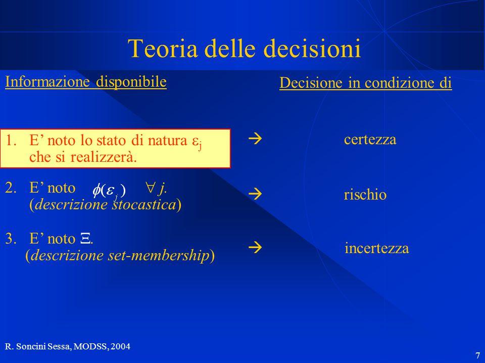 R.Soncini Sessa, MODSS, 2004 7 1.E' noto lo stato di natura  j che si realizzerà.