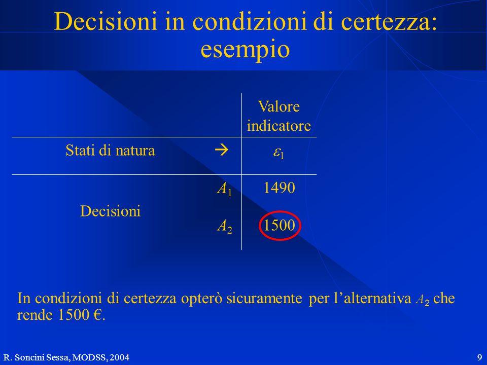 R. Soncini Sessa, MODSS, 2004 9 Decisioni in condizioni di certezza: esempio In condizioni di certezza opterò sicuramente per l'alternativa A 2 che re