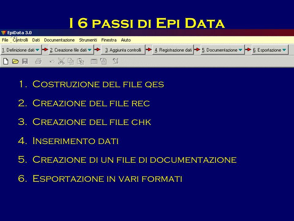 I 6 passi di Epi Data 1.Costruzione del file qes 2.Creazione del file rec 3.Creazione del file chk 4.Inserimento dati 5.Creazione di un file di docume