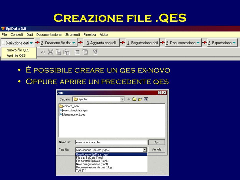 Creazione file.QES È possibile creare un qes ex-novo Oppure aprire un precedente qes