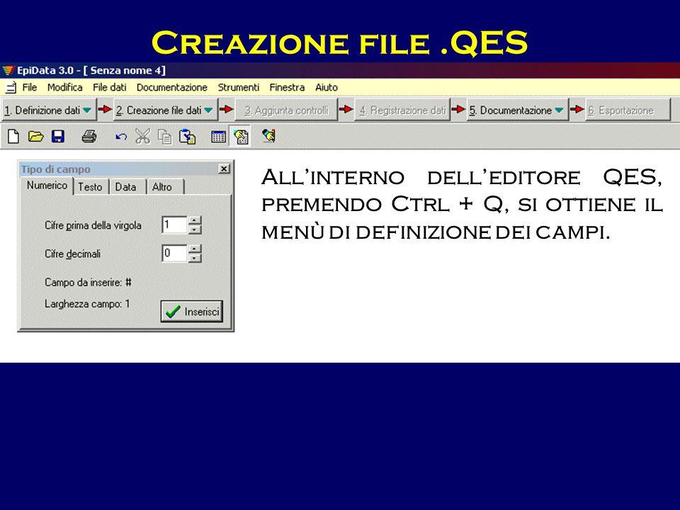Creazione file.QES All'interno dell'editore QES, premendo Ctrl + Q, si ottiene il menù di definizione dei campi.
