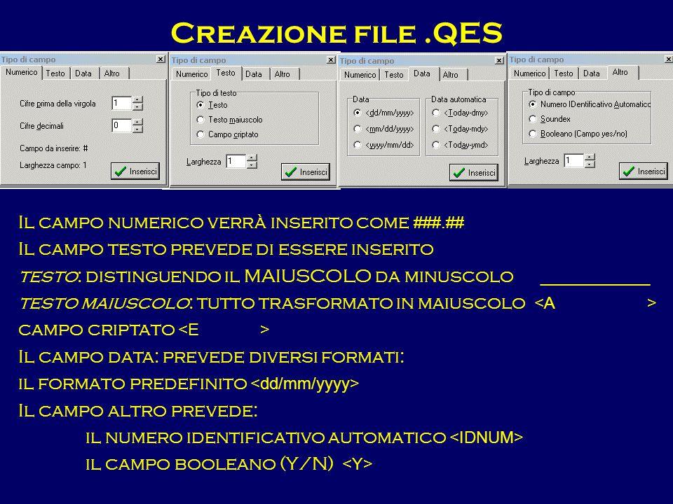 Creazione file.QES Il campo numerico verrà inserito come ###.## Il campo testo prevede di essere inserito testo: distinguendo il MAIUSCOLO da minuscol