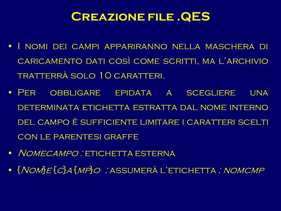 Creazione file.QES I nomi dei campi appariranno nella maschera di caricamento dati così come scritti, ma l'archivio tratterrà solo 10 caratteri. Per o
