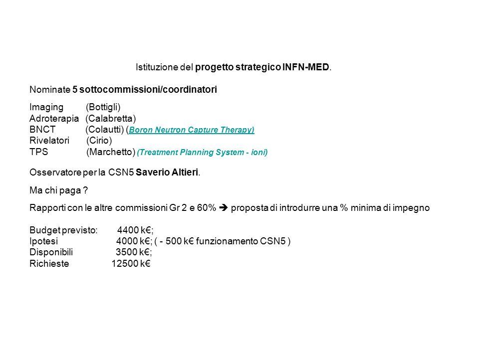Istituzione del progetto strategico INFN-MED.