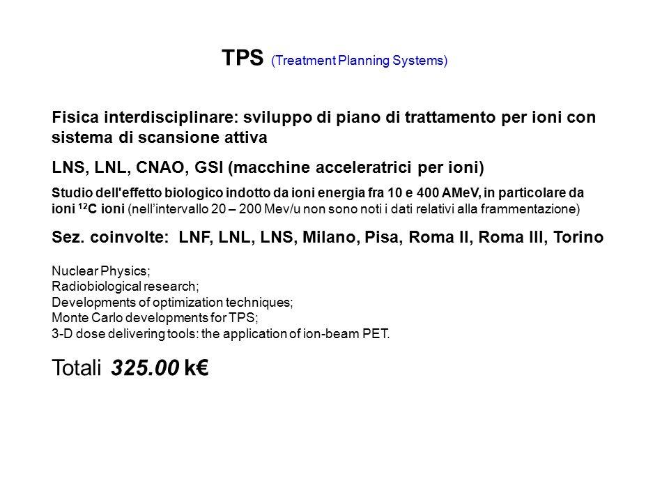 TPS (Treatment Planning Systems) Fisica interdisciplinare: sviluppo di piano di trattamento per ioni con sistema di scansione attiva LNS, LNL, CNAO, GSI (macchine acceleratrici per ioni) Studio dell effetto biologico indotto da ioni energia fra 10 e 400 AMeV, in particolare da ioni 12 C ioni (nell'intervallo 20 – 200 Mev/u non sono noti i dati relativi alla frammentazione) Sez.