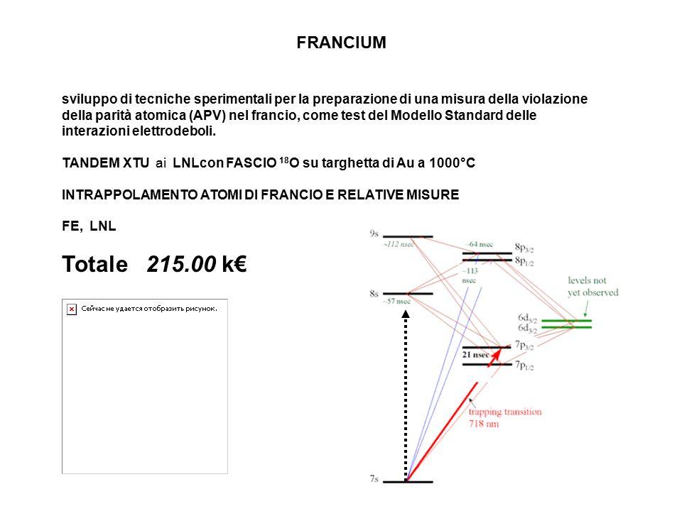 FRANCIUM sviluppo di tecniche sperimentali per la preparazione di una misura della violazione della parità atomica (APV) nel francio, come test del Modello Standard delle interazioni elettrodeboli.