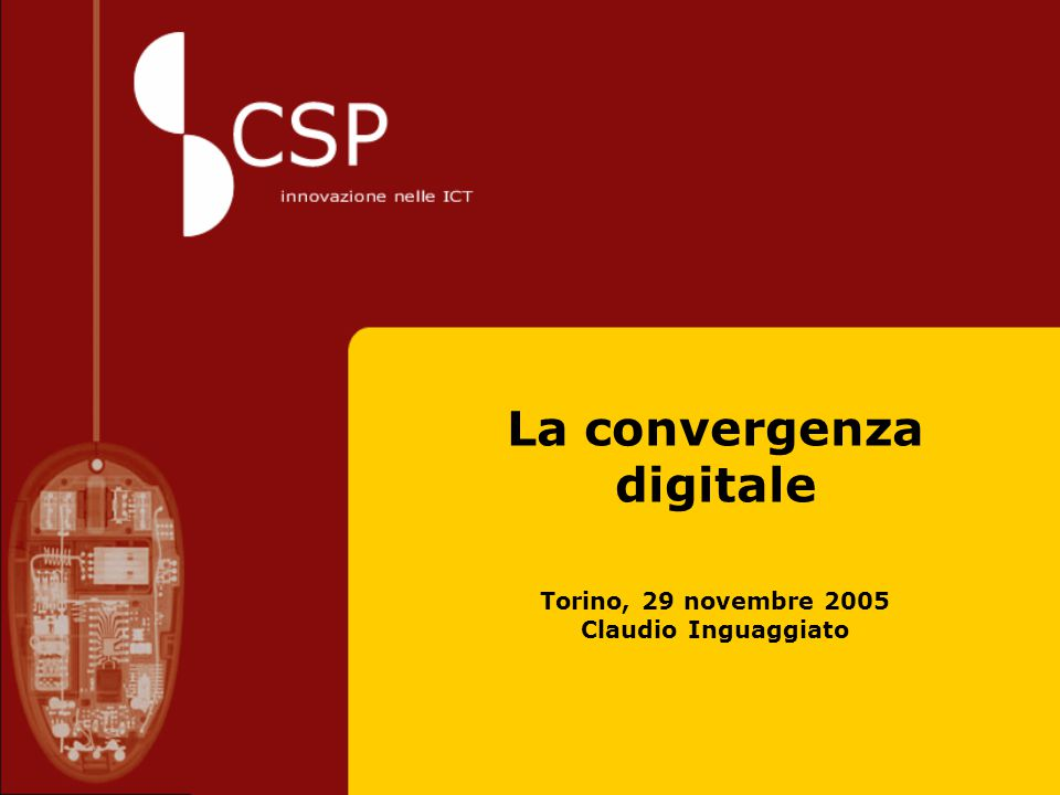 Torino 29 novembre 2005 2 La convergenza digitale The digital convergence of information society and media services, network and devices is finaly becoming an everyday reality: ICT will become smarter, smaller, safer,always connected and easier to use, with content moving to three dimensional multimedia formats. European Commission i2010 –a European Society for growth and employment June 1, 2005