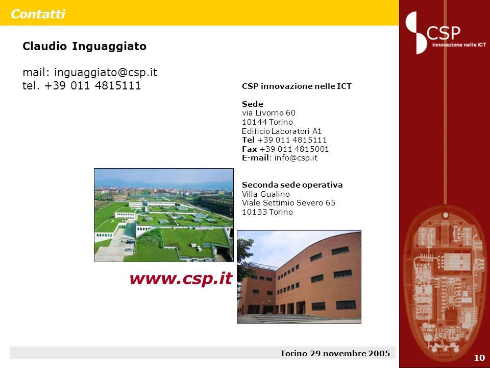 Torino 29 novembre 2005 10 Contatti Claudio Inguaggiato mail: inguaggiato@csp.it tel.