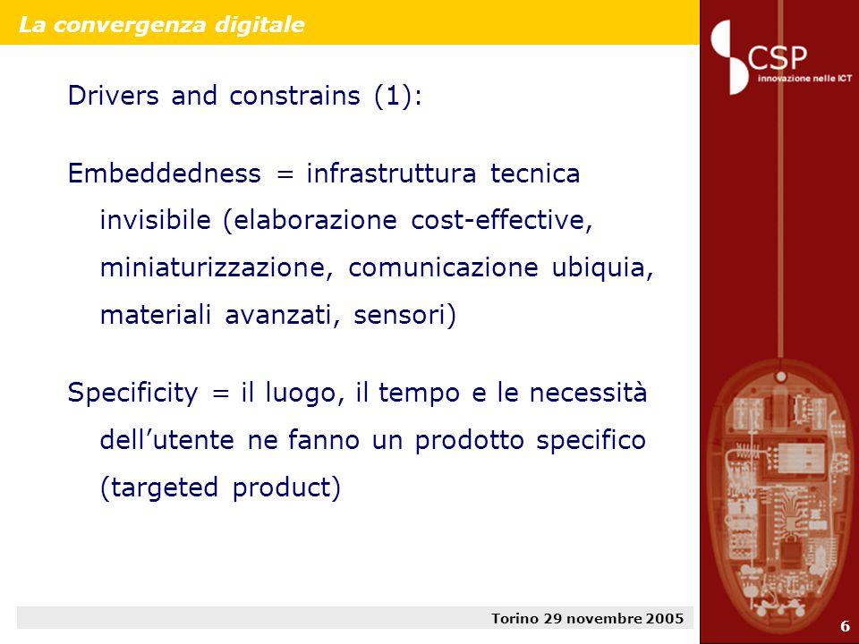 Torino 29 novembre 2005 7 La convergenza digitale Drivers and constrains (2): Interoperability and standardization = dati etorogenei, provenienti da fonti diverse, devono lavorare seamless su apparati e piattaforme differenziati.