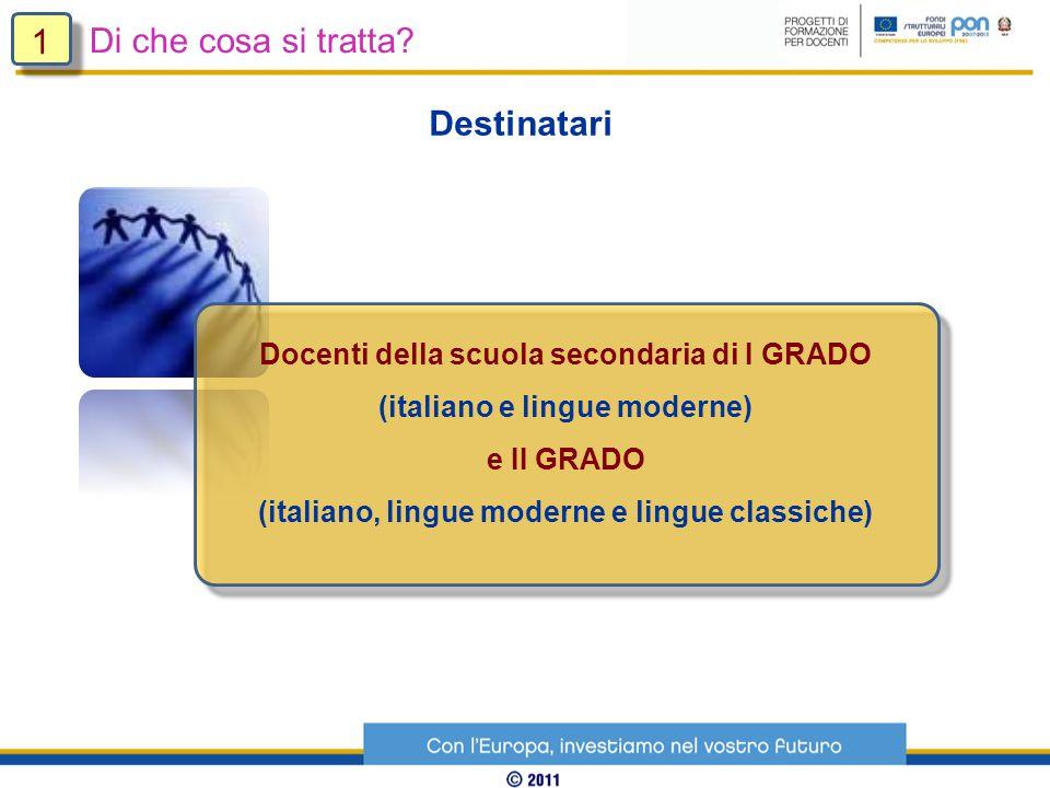 Destinatari Docenti della scuola secondaria di I GRADO (italiano e lingue moderne) e II GRADO (italiano, lingue moderne e lingue classiche) Di che cosa si tratta.