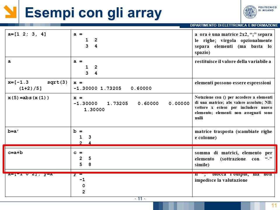 DIPARTIMENTO DI ELETTRONICA E INFORMAZIONE - 11 - Esempi con gli array a=[1 2; 3, 4]a = 1 2 3 4 a ora è una matrice 2x2, ; separa le righe; virgola opzionalmente separa elementi (ma basta lo spazio) aa = 1 2 3 4 restituisce il valore della variabile a x=[-1.3 sqrt(3) (1+2)/5] x = -1.30000 1.73205 0.60000 elementi possono essere espressioni x(5)=abs(x(1))x = -1.30000 1.73205 0.60000 0.00000 1.30000 Notazione con () per accedere a elementi di una matrice; abs valore assoluto; NB: vettore x esteso per includere nuovo elemento; elementi non assegnati sono nulli b=a'b = 1 3 2 4 matrice trasposta (scambiate righe e colonne) c=a+bc = 2 5 5 8 somma di matrici, elemento per elemento (sottrazione con - simile) x=[-1 0 2]; y=x y = 0 2 il ; blocca l'output, ma non impedisce la valutazione 11
