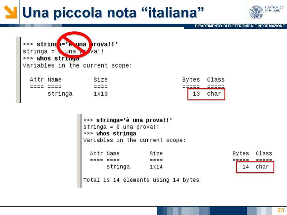 DIPARTIMENTO DI ELETTRONICA E INFORMAZIONE Una piccola nota italiana 23