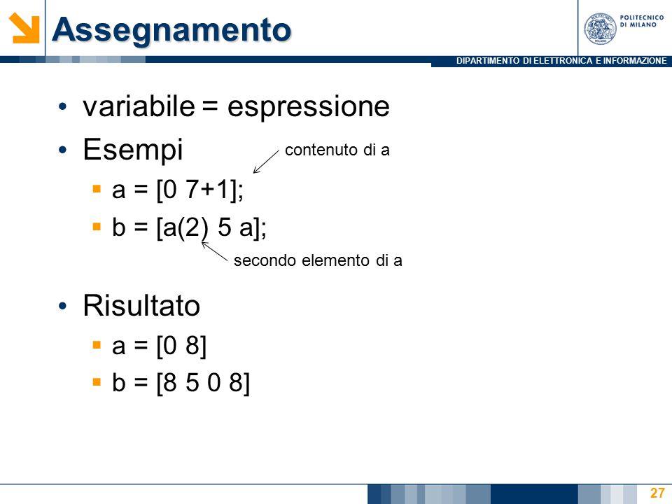 DIPARTIMENTO DI ELETTRONICA E INFORMAZIONEAssegnamento variabile = espressione Esempi  a = [0 7+1];  b = [a(2) 5 a]; Risultato  a = [0 8]  b = [8 5 0 8] secondo elemento di a contenuto di a 27