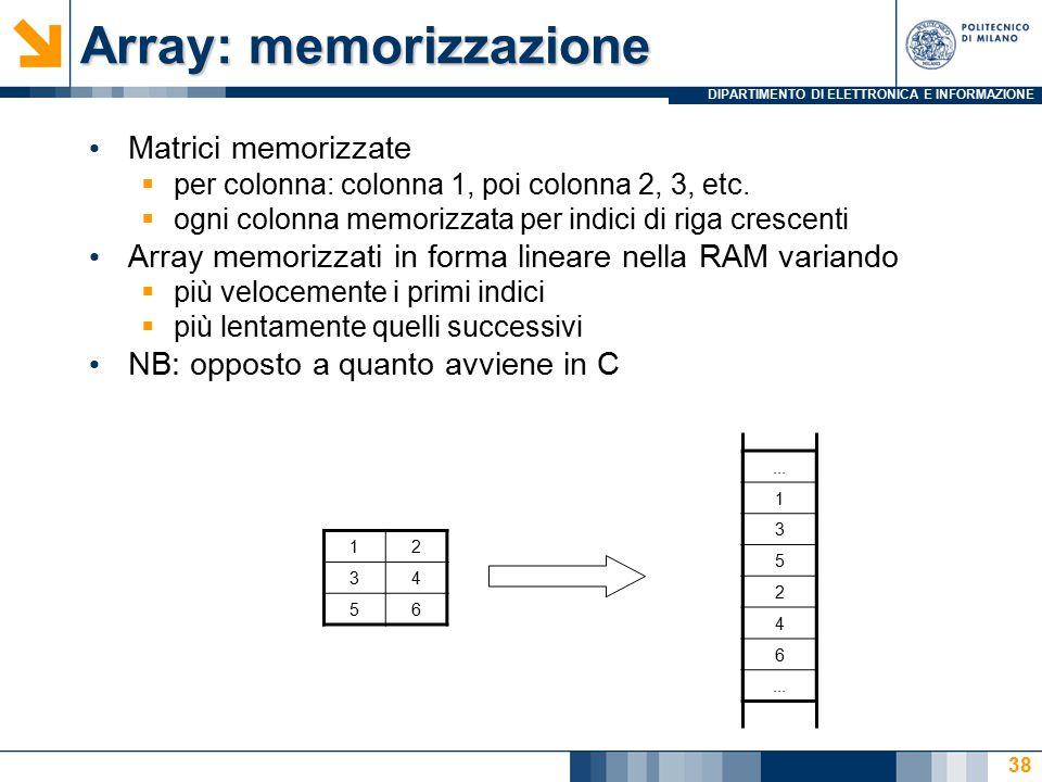 DIPARTIMENTO DI ELETTRONICA E INFORMAZIONE Array: memorizzazione Matrici memorizzate  per colonna: colonna 1, poi colonna 2, 3, etc.