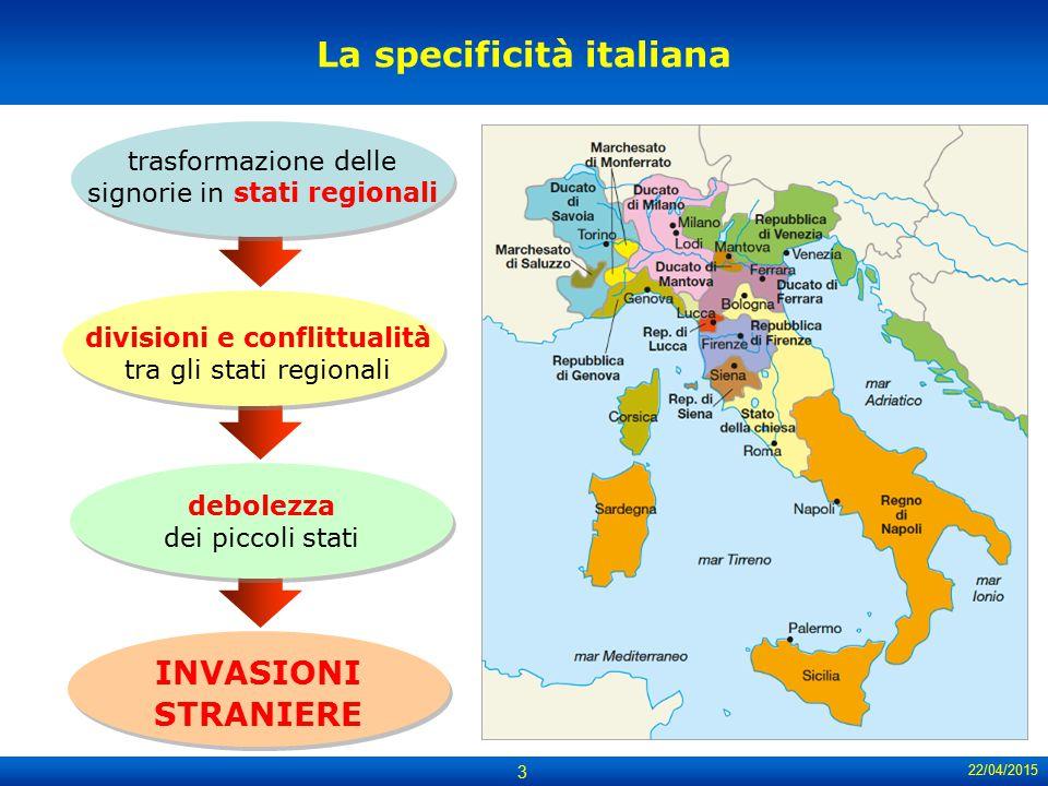 22/04/2015 3 La specificità italiana trasformazione delle signorie in stati regionali divisioni e conflittualità tra gli stati regionali debolezza dei
