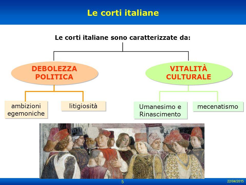 22/04/2015 5 Le corti italiane ambizioni egemoniche Umanesimo e Rinascimento litigiosità Le corti italiane sono caratterizzate da: mecenatismo DEBOLEZ