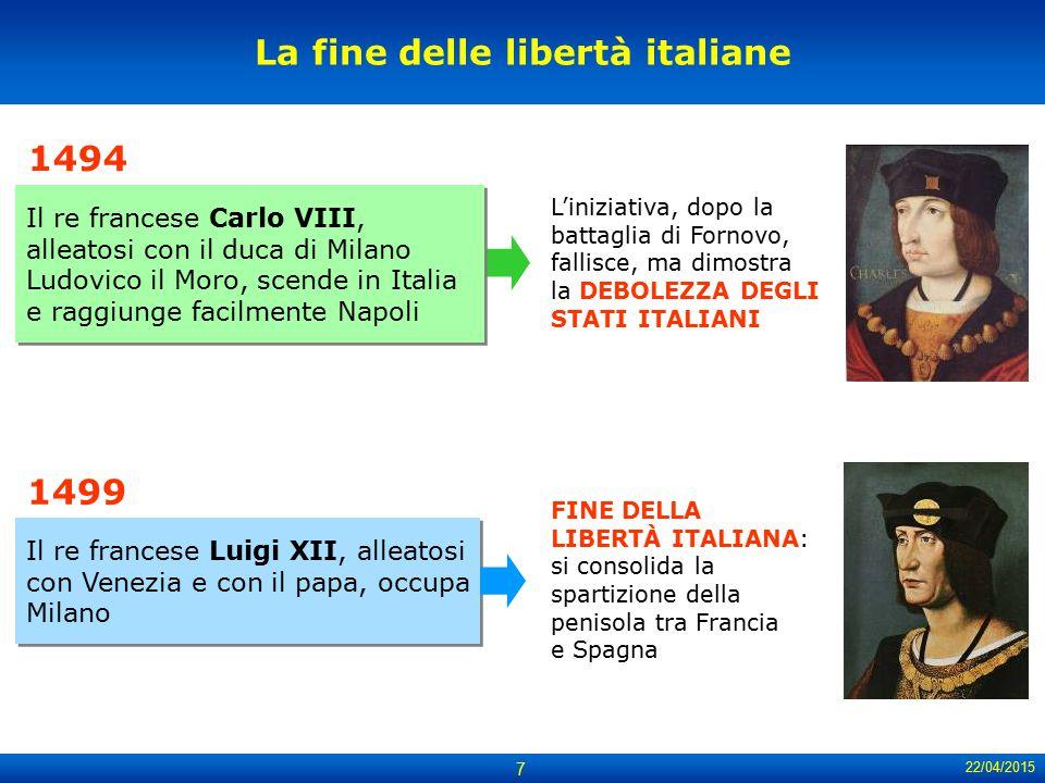 22/04/2015 7 Il re francese Luigi XII, alleatosi con Venezia e con il papa, occupa Milano La fine delle libertà italiane L'iniziativa, dopo la battagl
