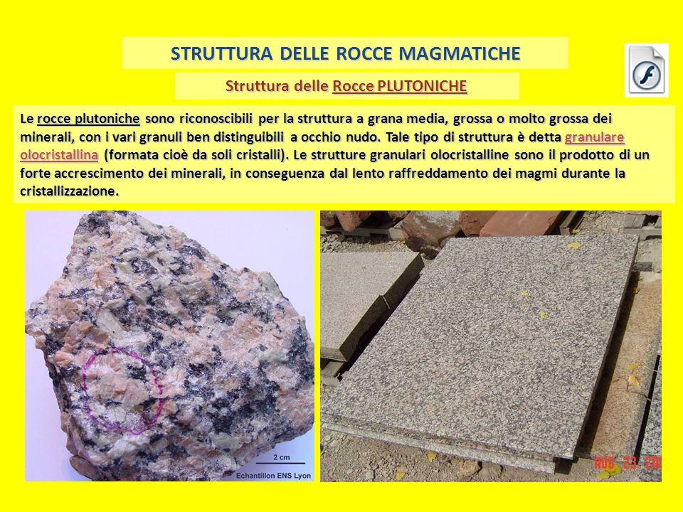 Struttura delle Rocce PLUTONICHE STRUTTURA DELLE ROCCE MAGMATICHE Le rocce plutoniche sono riconoscibili per la struttura a grana media, grossa o molt
