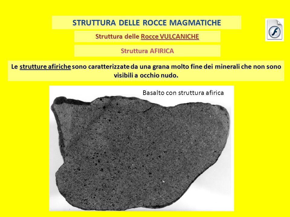 Struttura delle Rocce VULCANICHE STRUTTURA DELLE ROCCE MAGMATICHE Struttura AFIRICA Le strutture afiriche sono caratterizzate da una grana molto fine