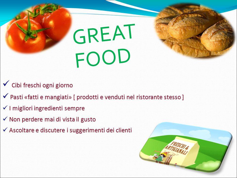Cibi freschi ogni giorno Pasti «fatti e mangiati» [ prodotti e venduti nel ristorante stesso ] Pasti «fatti e mangiati» [ prodotti e venduti nel risto