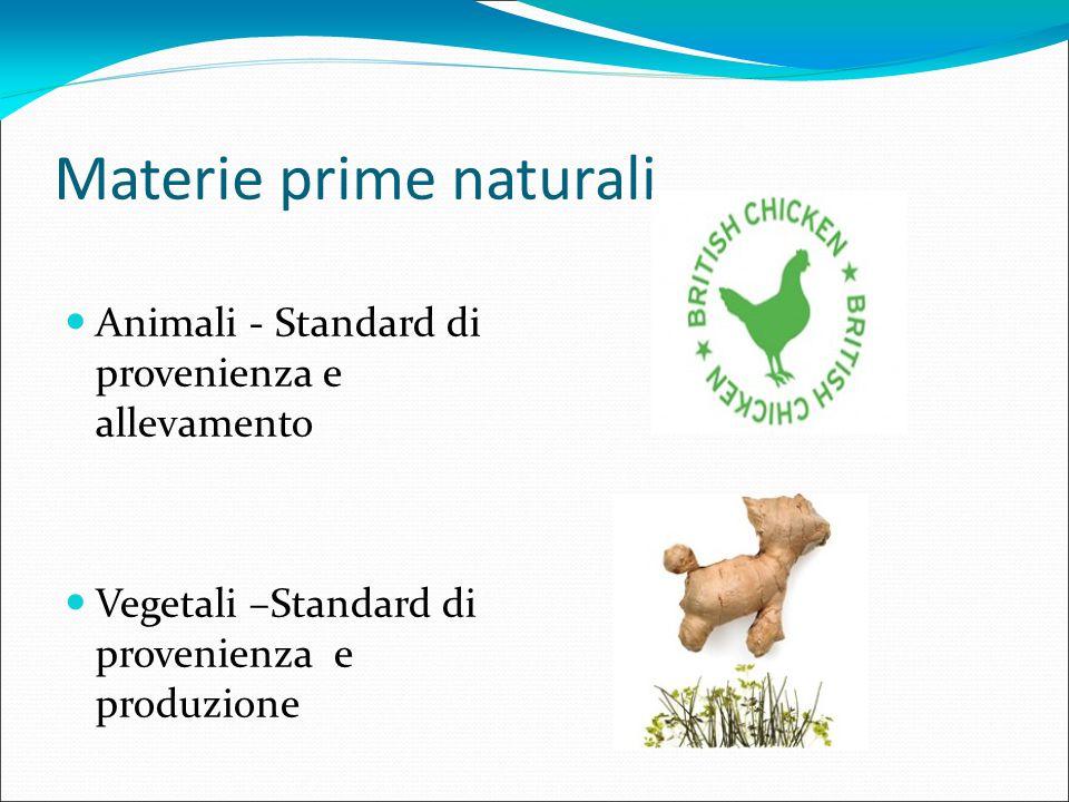 Materie prime naturali Animali - Standard di provenienza e allevamento Vegetali –Standard di provenienza e produzione