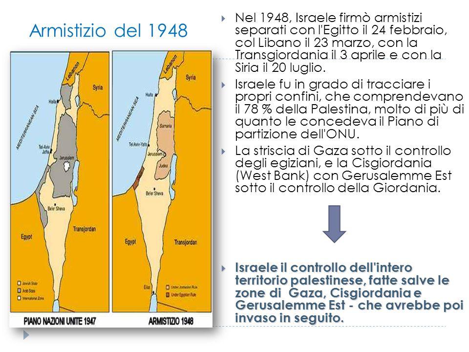 Armistizio del 1948  Nel 1948, Israele firmò armistizi separati con l'Egitto il 24 febbraio, col Libano il 23 marzo, con la Transgiordania il 3 april