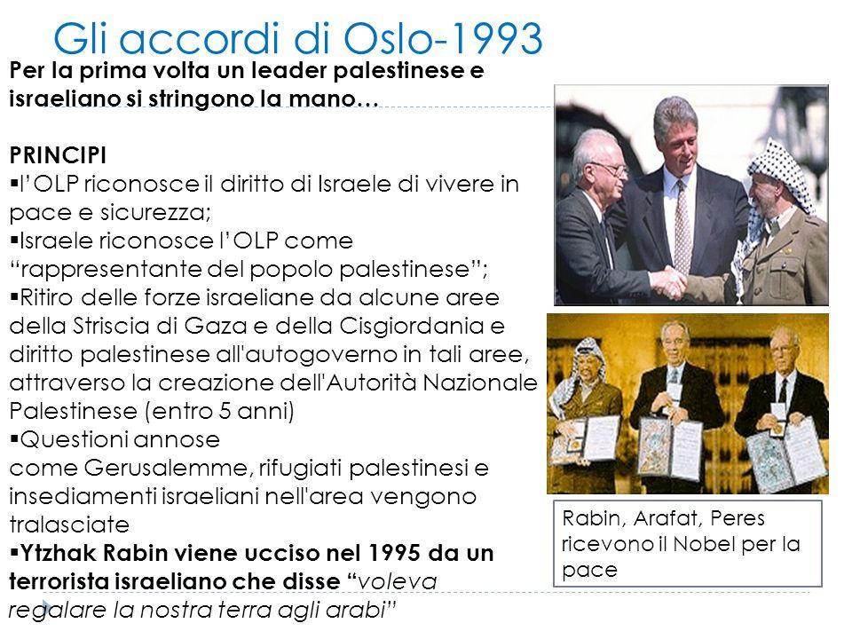 Gli accordi di Oslo-1993 Per la prima volta un leader palestinese e israeliano si stringono la mano… PRINCIPI  l'OLP riconosce il diritto di Israele