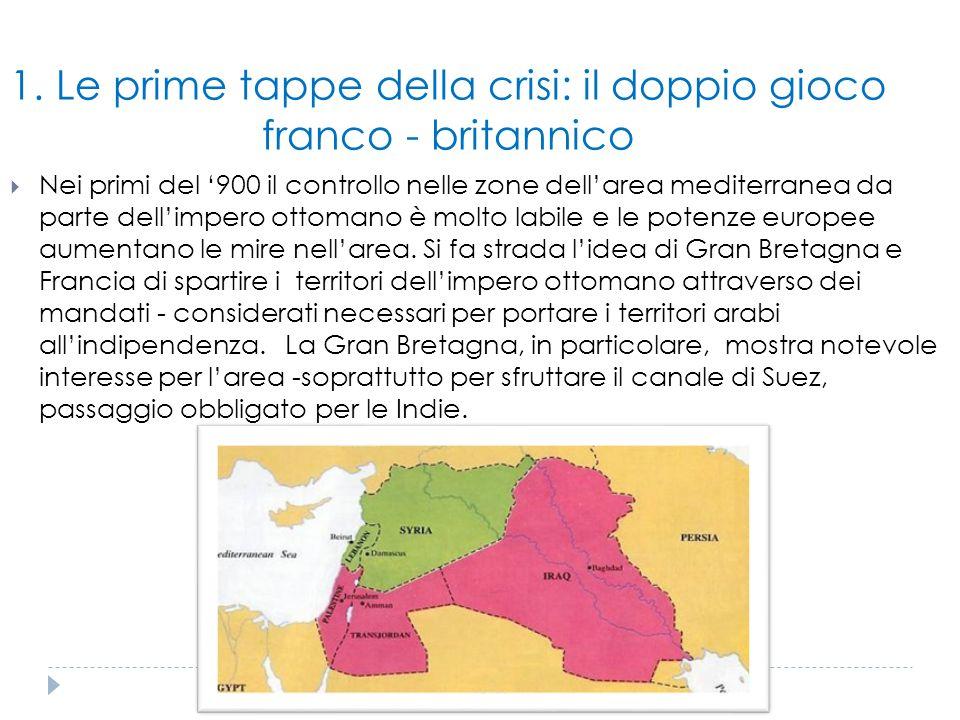 1. Le prime tappe della crisi: il doppio gioco franco - britannico  Nei primi del '900 il controllo nelle zone dell'area mediterranea da parte dell'i