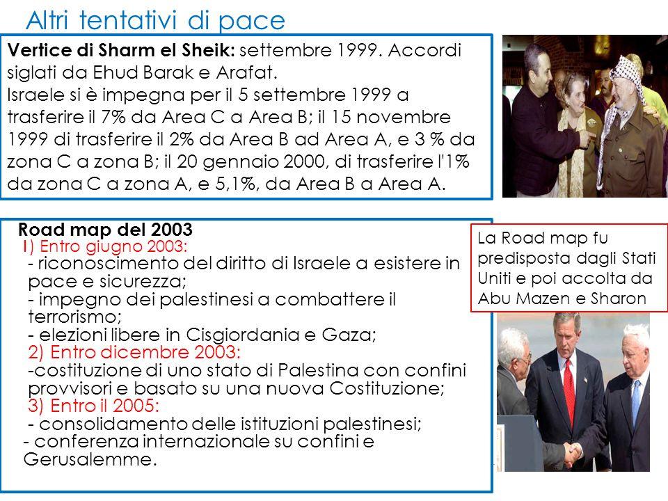 Altri tentativi di pace Vertice di Sharm el Sheik: settembre 1999. Accordi siglati da Ehud Barak e Arafat. Israele si è impegna per il 5 settembre 199