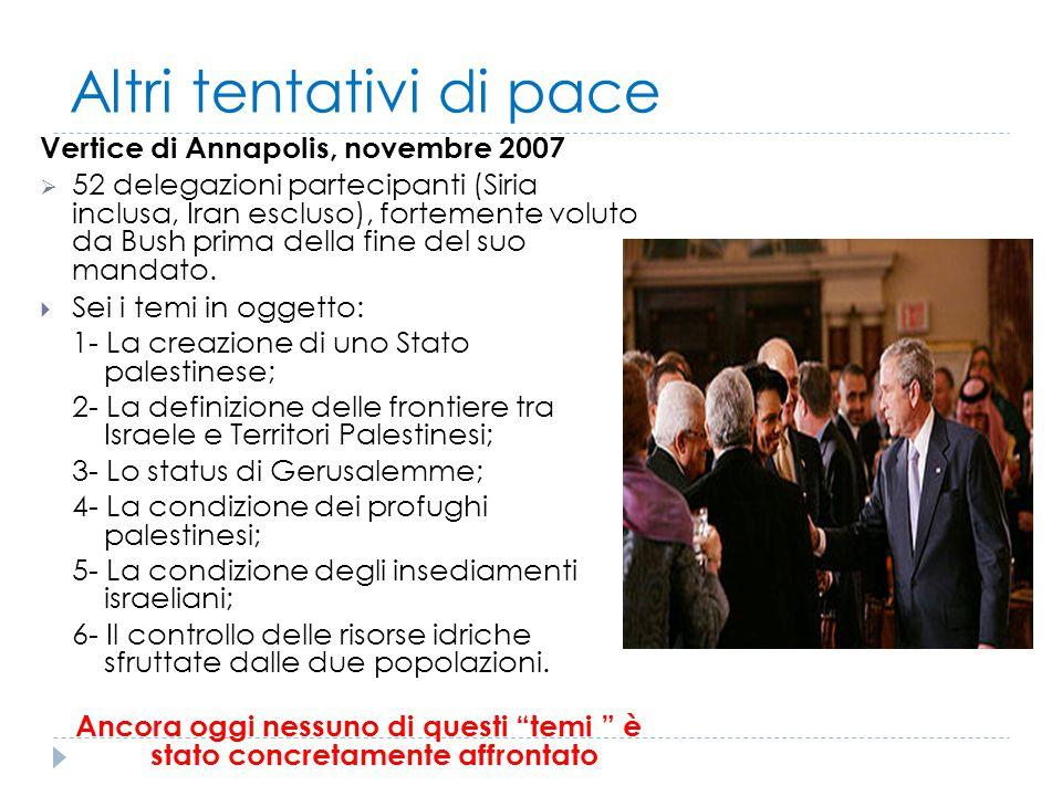 Altri tentativi di pace Vertice di Annapolis, novembre 2007  52 delegazioni partecipanti (Siria inclusa, Iran escluso), fortemente voluto da Bush pri