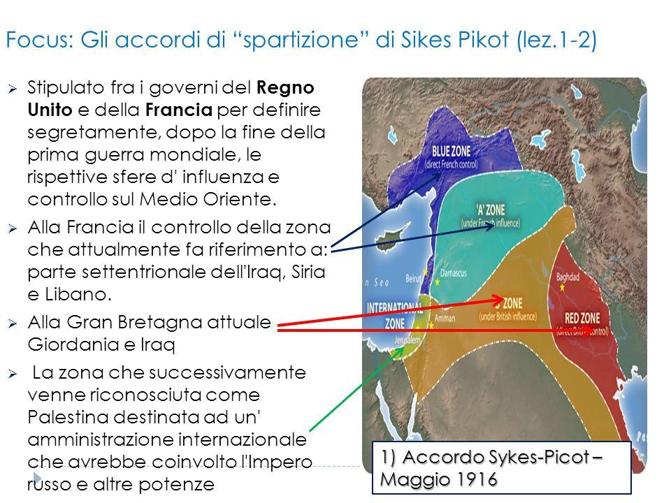 """Focus: Gli accordi di """"spartizione"""" di Sikes Pikot (lez.1-2)  Stipulato fra i governi del Regno Unito e della Francia per definire segretamente, dopo"""