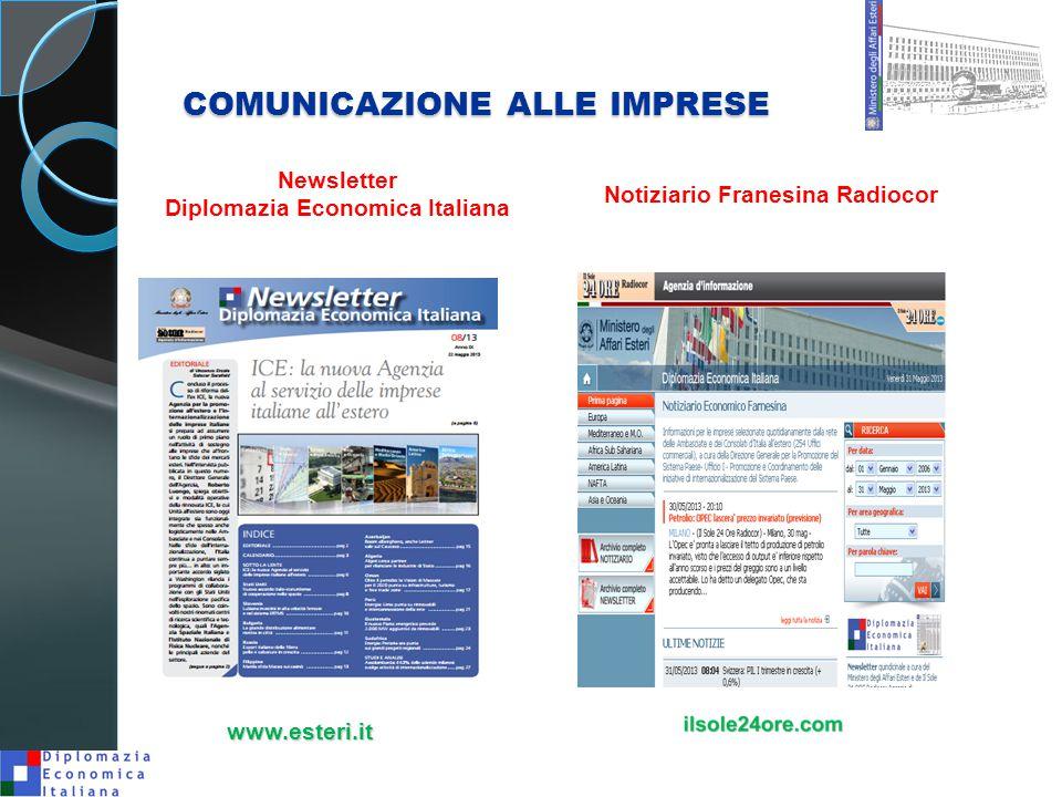 COMUNICAZIONE ALLE IMPRESE Newsletter Diplomazia Economica Italiana Notiziario Franesina Radiocor www.esteri.it