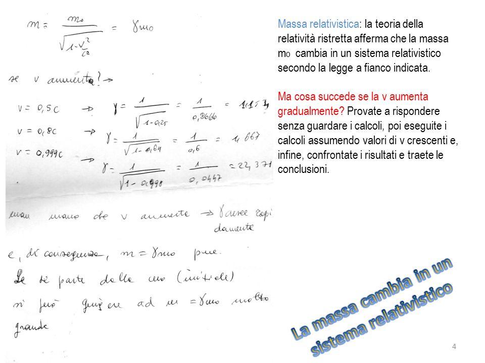 Massa relativistica: la teoria della relatività ristretta afferma che la massa m o cambia in un sistema relativistico secondo la legge a fianco indica